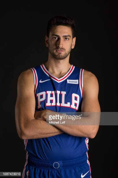 Furkan Korkmaz of the Philadelphia 76ers poses for a portrait during Media Day at the Sixers Training Complex on September 21 2018 in Camden New...