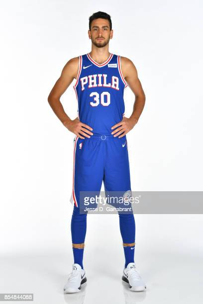 Furkan Korkmaz of the Philadelphia 76ers poses for a portrait during 201718 NBA Media Day on September 25 2017 at Wells Fargo Center in Philadelphia...