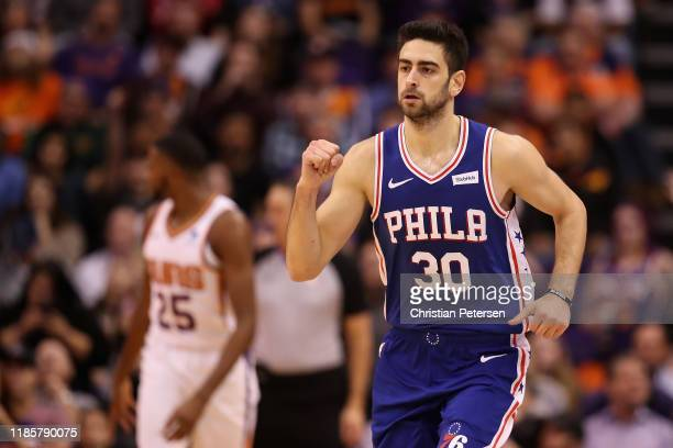 Furkan Korkmaz of the Philadelphia 76ers reacts after scoring against the Phoenix Suns during the second half of the NBA game at Talking Stick Resort...