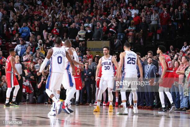 Furkan Korkmaz of the Philadelphia 76ers reacts during a game against the Portland Trail Blazers on November 2 2019 at the Moda Center Arena in...