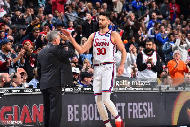 Furkan Korkmaz of the Philadelphia 76ers reacts during a game against the Memphis Grizzlies on February 7 2020 at the Wells Fargo Center in...