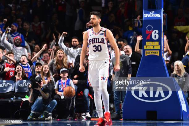 Furkan Korkmaz of the Philadelphia 76ers reacts during a game against the Chicago Bulls on February 9 2020 at the Wells Fargo Center in Philadelphia...