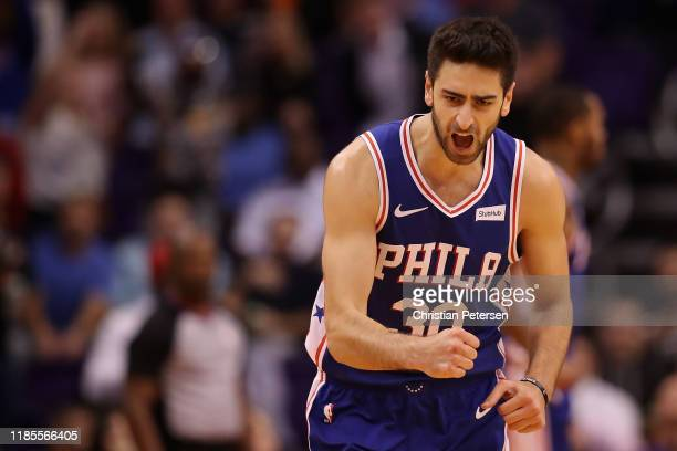 Furkan Korkmaz of the Philadelphia 76ers reacts to a three point shot against the Phoenix Suns during the second half of the NBA game at Talking...