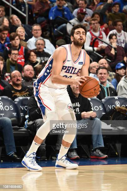 Furkan Korkmaz of the Philadelphia 76ers shoots a 3point shot against the Toronto Raptors on December 22 2018 at the Wells Fargo Center in...