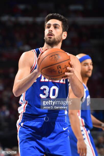 Furkan Korkmaz of the Philadelphia 76ers shoots a foul shot against the Portland Trail Blazers at Wells Fargo Center on November 22 2017 in...