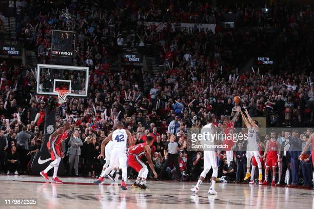 Furkan Korkmaz of the Philadelphia 76ers shoots a threepointer to win the game against the Portland Trail Blazers on November 2 2019 at the Moda...