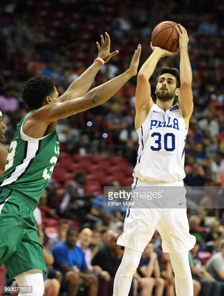 Furkan Korkmaz of the Philadelphia 76ers shoots against the Boston Celtics during the 2018 NBA Summer League at the Thomas Mack Center on July 6 2018...