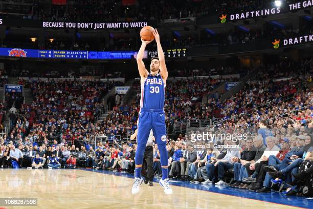 Furkan Korkmaz of the Philadelphia 76ers shoots the ball against the New York Knicks on November 28 2018 at the Wells Fargo Center in Philadelphia...