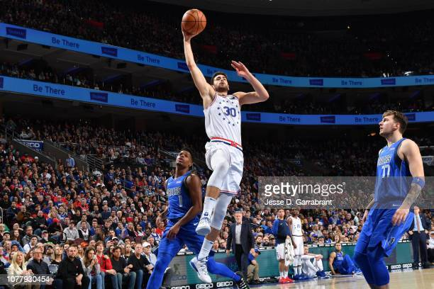 Furkan Korkmaz of the Philadelphia 76ers shoots the ball against the Dallas Mavericks on January 5 2019 at the Wells Fargo Center in Philadelphia...