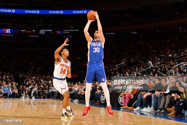 Furkan Korkmaz of the Philadelphia 76ers shoots the ball against the New York Knicks on January 18 2020 at Madison Square Garden in New York City New...