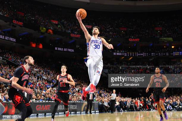 Furkan Korkmaz of the Philadelphia 76ers shoots the ball against the Chicago Bulls on February 9 2020 at the Wells Fargo Center in Philadelphia...