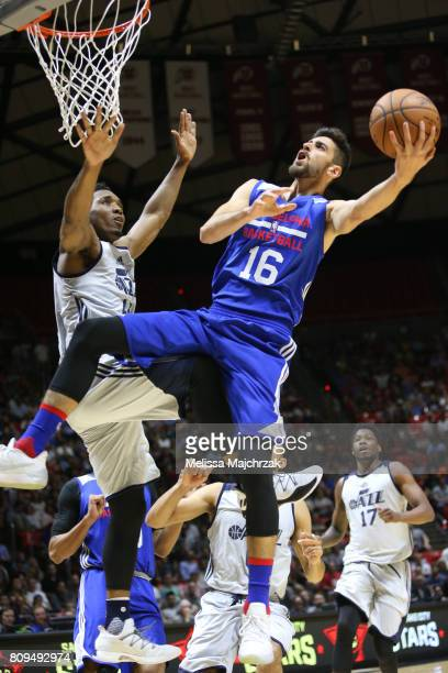 Furkan Korkmaz of the Philadelphia 76ers shoots the ball against the Utah Jazz on July 5 2017 during the 2017 NBA Utah Summer League game at the Jon...