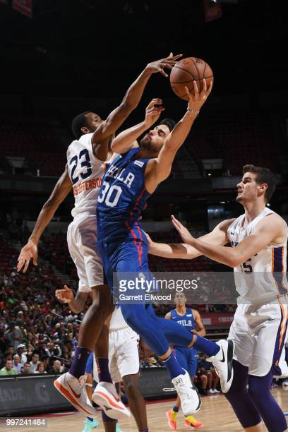 Furkan Korkmaz of the Philadelphia 76ers shoots the ball against the Phoenix Suns during the 2018 Las Vegas Summer League on July 12 2018 at the...