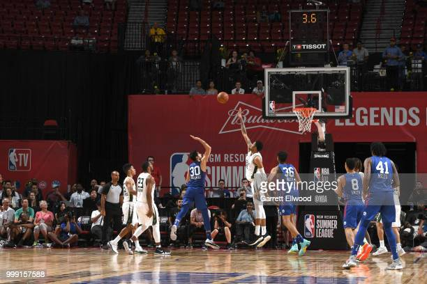 Furkan Korkmaz of the Philadelphia 76ers shoots the ball against the Milwaukee Bucks during the 2018 Las Vegas Summer League on July 14 2018 at the...