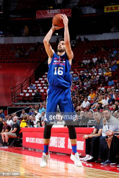 Furkan Korkmaz of the Philadelphia 76ers shoots the ball during the game against the Los Angeles Lakers during the 2017 Las Vegas Summer League on...