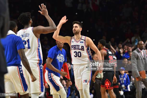 Furkan Korkmaz of the Philadelphia 76ers smiles during a game against the Chicago Bulls on February 9 2020 at the Wells Fargo Center in Philadelphia...