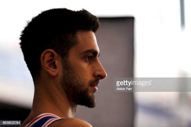 Furkan Korkmaz of the Philadephia 76ers poses for a portrait during the Philadelphia 76ers Media Day on September 25 2017 at the Philadelphia 76ers...