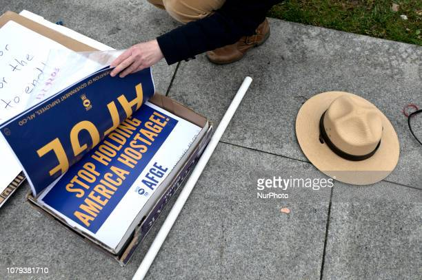 Furloughed federal workers joined by elected officials protest the federal government shutdown during a nonpartisan rally at Independence Mall in...