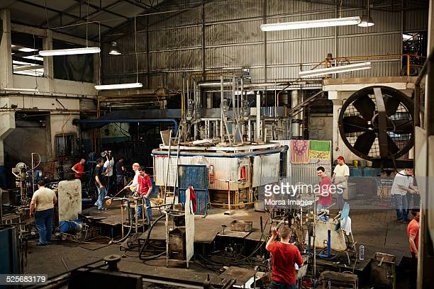 Furnace area in glass factory