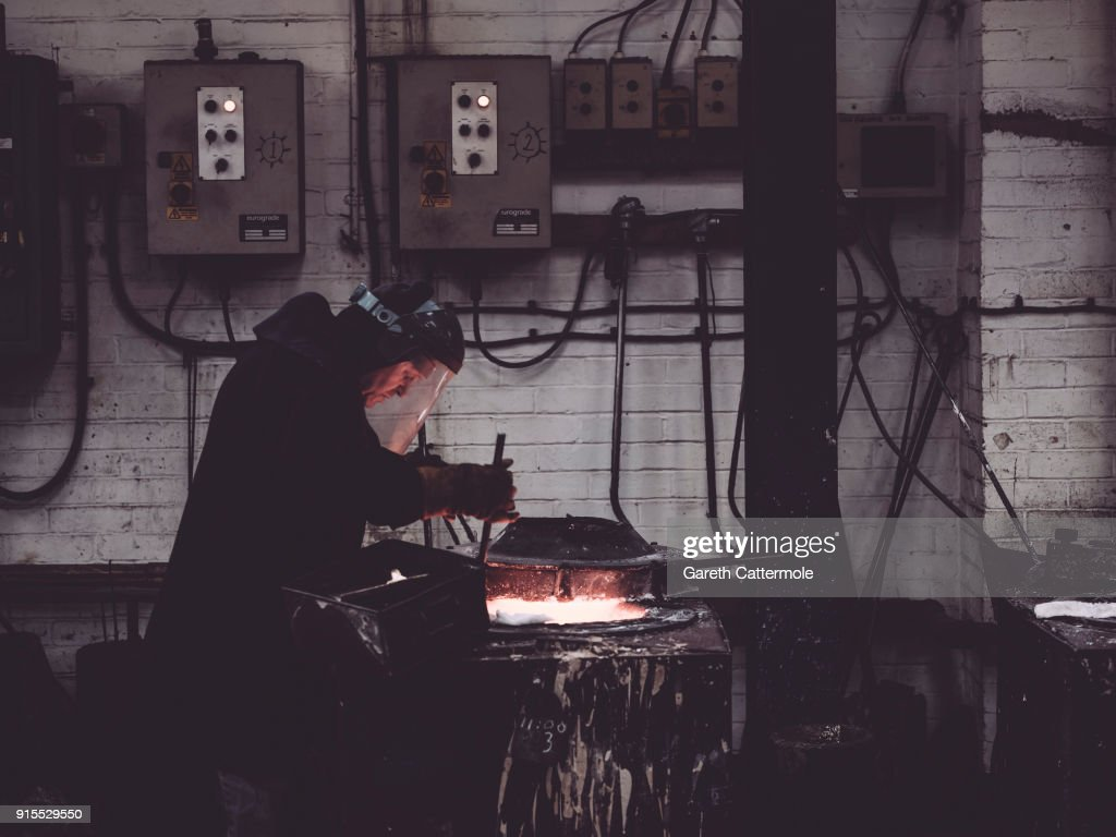 Furnaceman Billy Smith during the BAFTA masks casting at New Pro Foundries Ltd on February 7, 2018 in London, England. The EE British Academy Film Awards will take place on Sunday February 18 at the Royal Albert Hall.