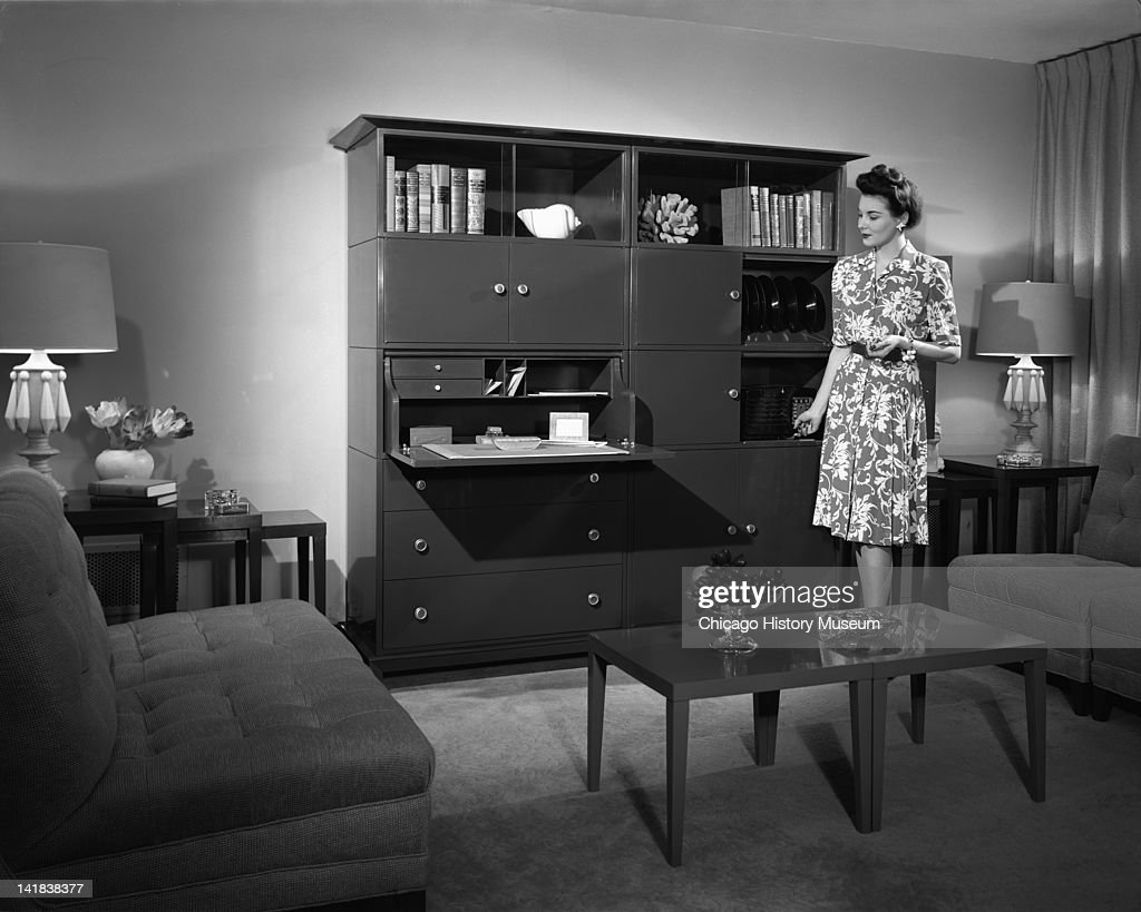 Furnishing And Furniture Display At Marshall Field Companyu0027s Thrift House  Woman In A Living Room With
