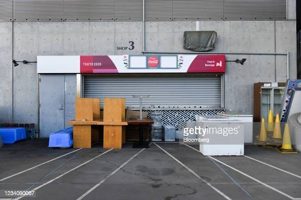 Furniture and appliances outside a closed refreshment kiosk at Ajinomoto Stadium, ahead of an opening round women's football match between the U.S....