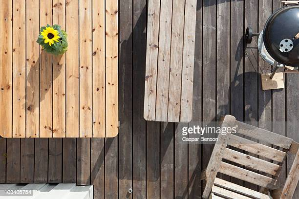 furniture and barbecue on a patio, directly above - picnic table stock pictures, royalty-free photos & images