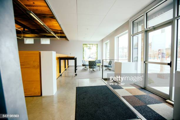 Furniture and door in empty office