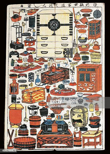 Furniture and objects used in the theatre 19th century ukiyoe art print from the Kabuki theatre series woodcut Japanese civilisation Edo period...