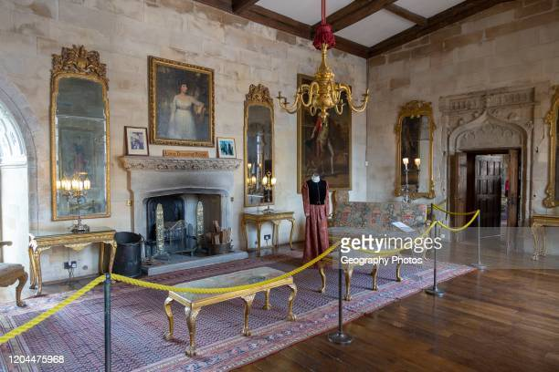 Furniture and paintings inside the Long Drawing Room Berkeley castle Gloucestershire England UK
