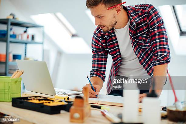 Furniture designer working in office