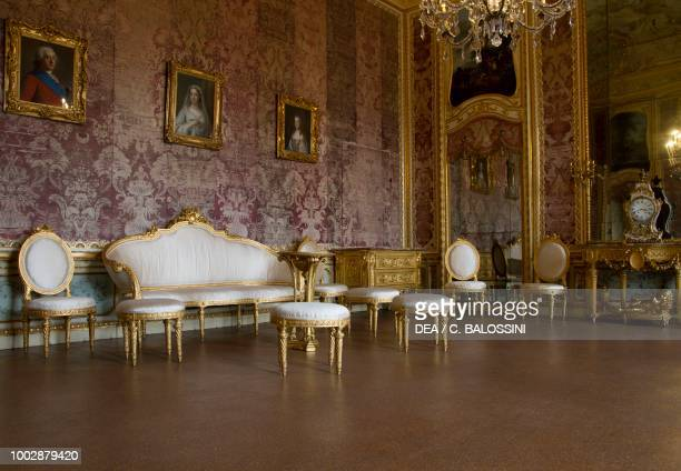 Furniture in neoclassical style reception hall apartment of the Duke of Chablais Hunting residence by Filippo Juvarra Stupinigi Piedmont Italy 18th...