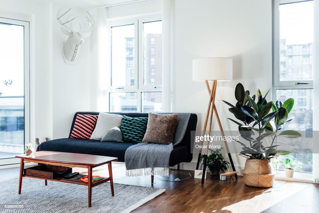 Furniture in white living room : Stock Photo