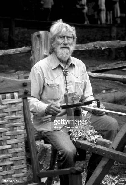 A furniture maker demonstrates how to use a shaving horse and draw knife at the Tennessee Fall Homecoming at the Museum of Appalachia in Norris...
