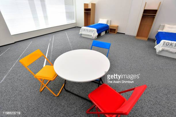 Furniture of the Athletes Village of the Tokyo 2020 Olympic and Paralympic Games are unveiled on January 9, 2020 in Tokyo, Japan.