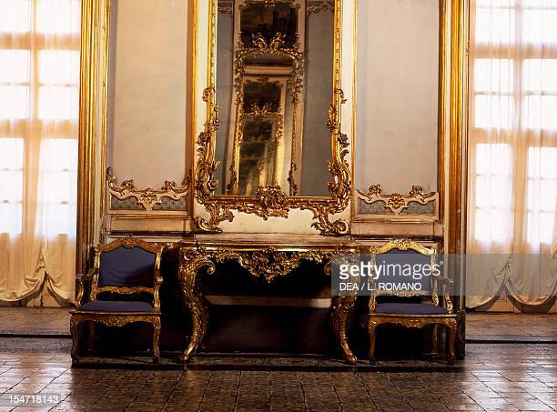 Furniture of the Ballroom designed by Antonio Amato Palazzo Biscari Catania Sicily Italy 18th century