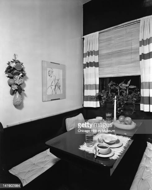 Furniture Settings Home Interiors display Kitchen table with bench seating Chicago Illinois June 10 1946