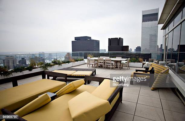 Furniture sits on the terrace outside the apartment of Marc Dreier, founder of the law firm Dreier LLP sentenced to 20 years in prison for defrauding...