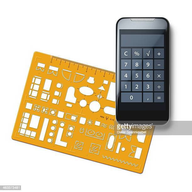 Furniture template and smartphone with calculator