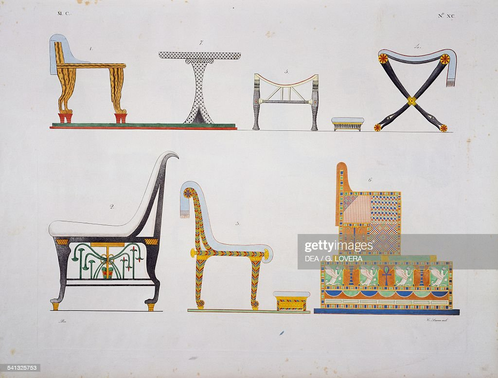 Furniture Thrones And Beds Of Various Kinds Plate XC From The Monuments Of  Egypt And Nubia