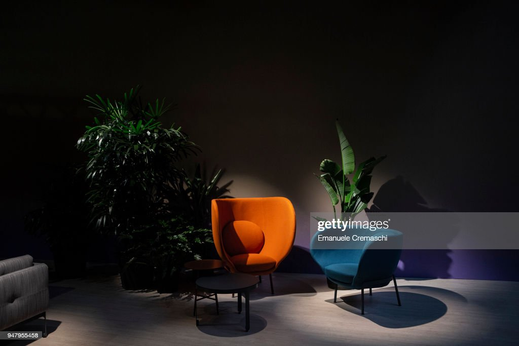 Furnitures on display at the Moroso display stand during the Salone Internazionale del Mobile at Fiera di Rho on April 17, 2018 in Milan, Italy. Every year, Salone and Fuorisalone define the Milan Design Week, the most important event in the world for design. With over 2.000 exhibitors, the Salone Internazionale del Mobile (Milan Furniture Fair) is the largest furniture fair in the world. Beside that, the Fuorisalone includes a set of 1.200 events distributed all over Milan.