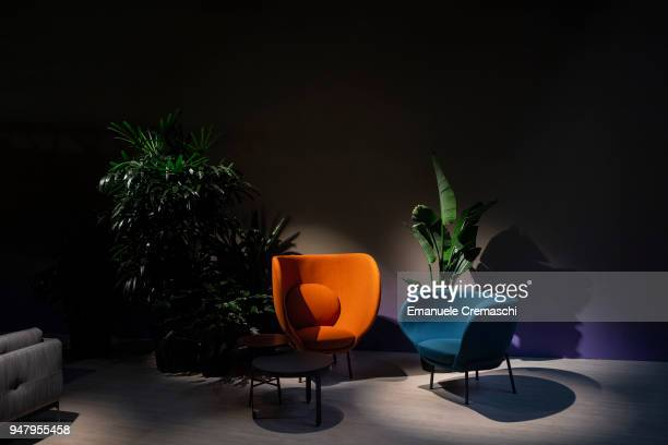 Furnitures on display at the Moroso display stand during the Salone Internazionale del Mobile at Fiera di Rho on April 17 2018 in Milan Italy Every...