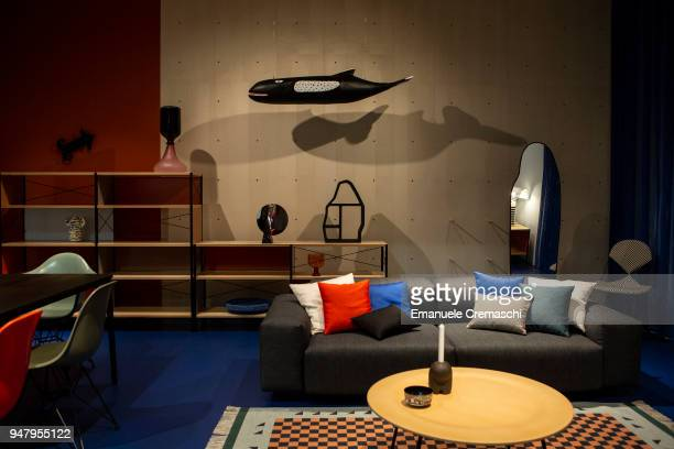 Furnitures on display at the Vitra display stand during the Salone Internazionale del Mobile at Fiera di Rho on April 17 2018 in Milan Italy Every...