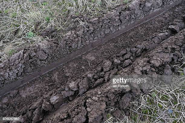 Furrow ploughed across a field during the annual ploughing match on November 27, 2016 in Staithes, United Kingdom. The event which is held each year...
