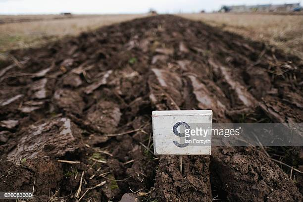 Furrows lead off across a field after being ploughed during the annual ploughing match on November 27, 2016 in Staithes, United Kingdom. The event...