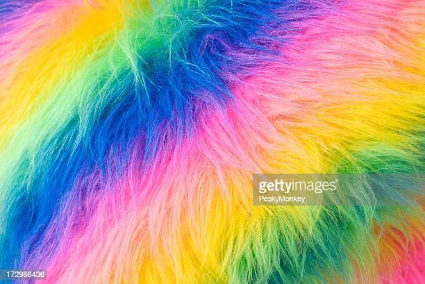 Furry Rainbow Bright Fabric Fake Fur Background