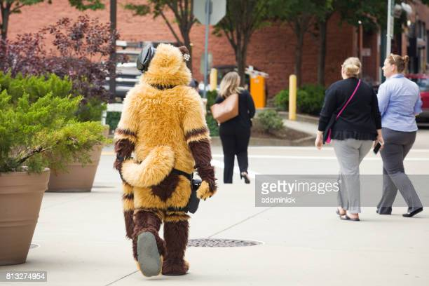 Furry Walking Around Downtown Pittsburgh Among The Work Crowd