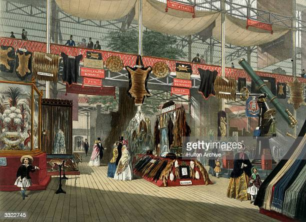 Furs on display at the Great Exhibition in Crystal Palace the glass and iron building designed by Joseph Paxton at Hyde Park London Original...