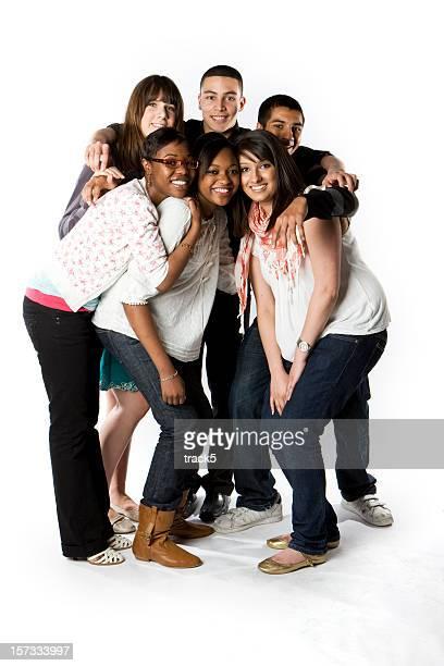 sorrisos brilhantes e contato de amigos adolescentes - class photo - fotografias e filmes do acervo