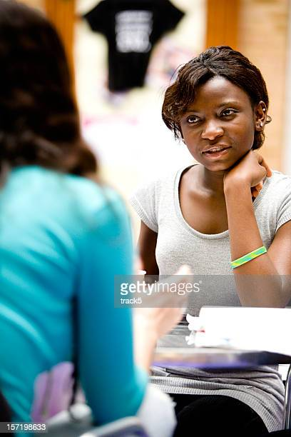 further education: Eye contact and concentration between teenage students